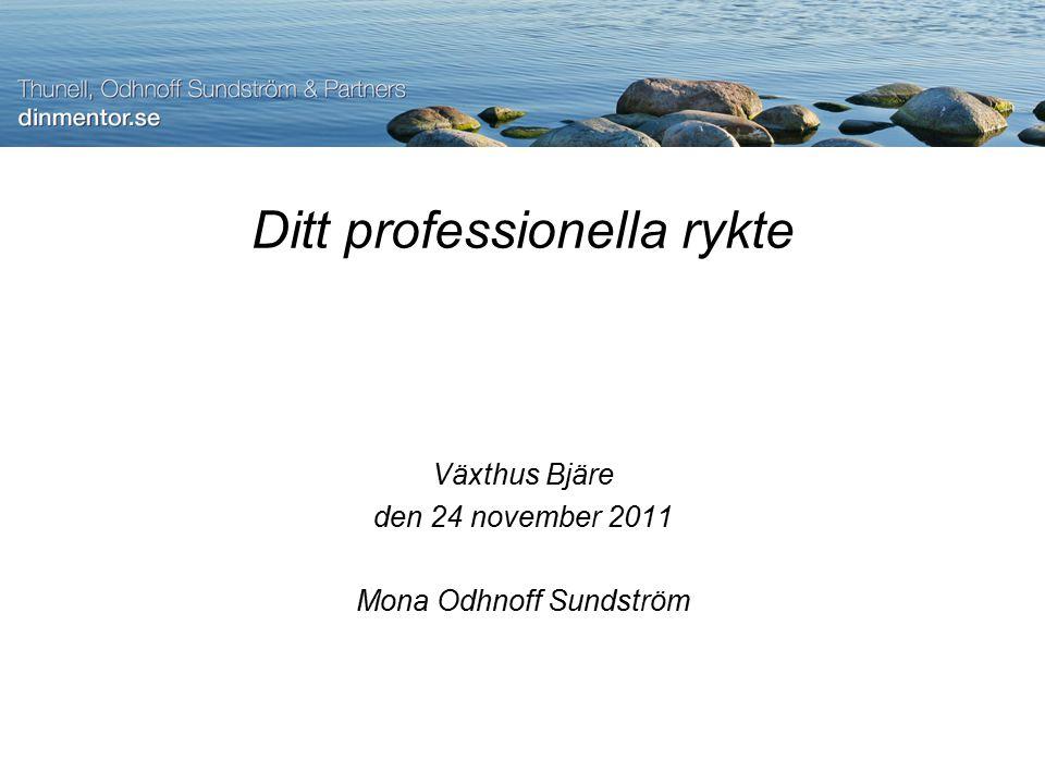 Ditt professionella rykte Växthus Bjäre den 24 november 2011 Mona Odhnoff Sundström
