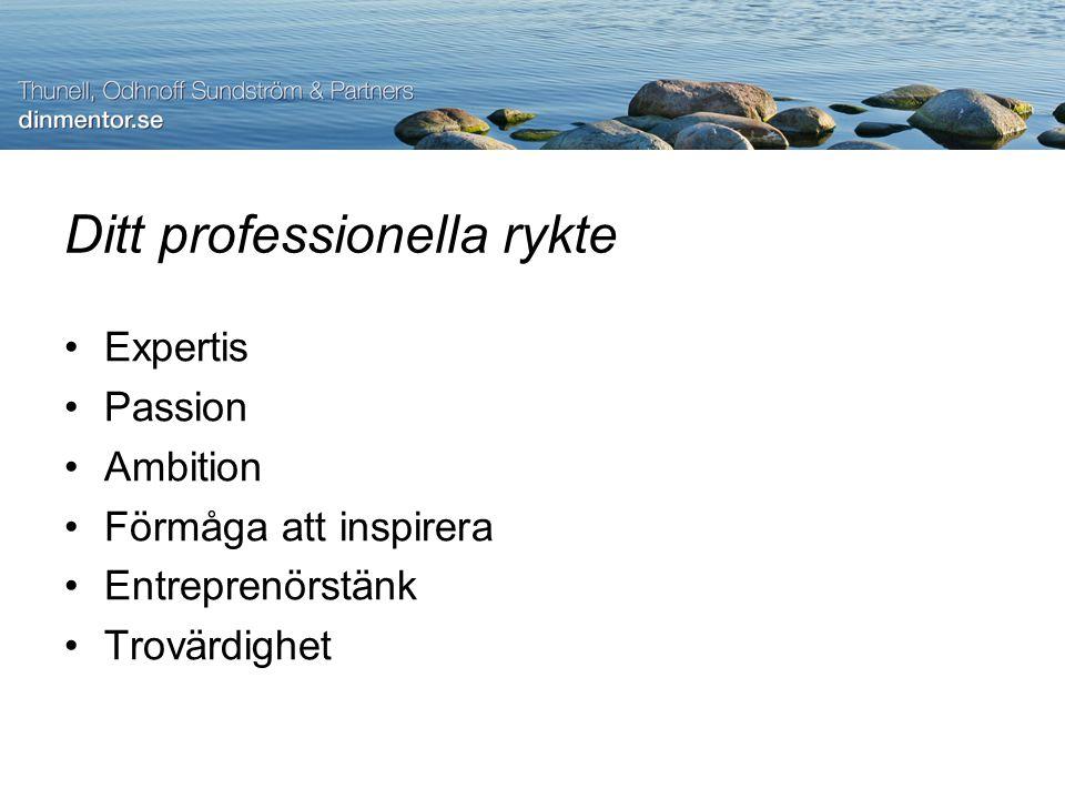 Ditt professionella rykte Expertis Passion Ambition Förmåga att inspirera Entreprenörstänk Trovärdighet