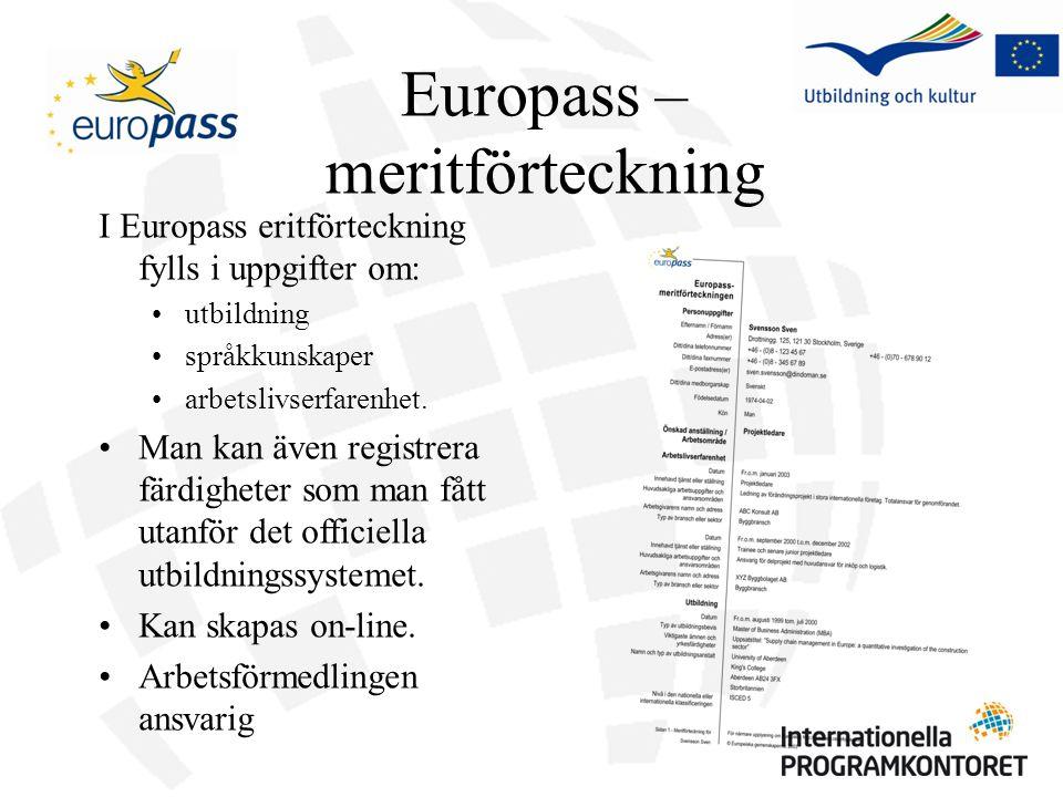 I Europass eritförteckning fylls i uppgifter om: utbildning språkkunskaper arbetslivserfarenhet. Man kan även registrera färdigheter som man fått utan