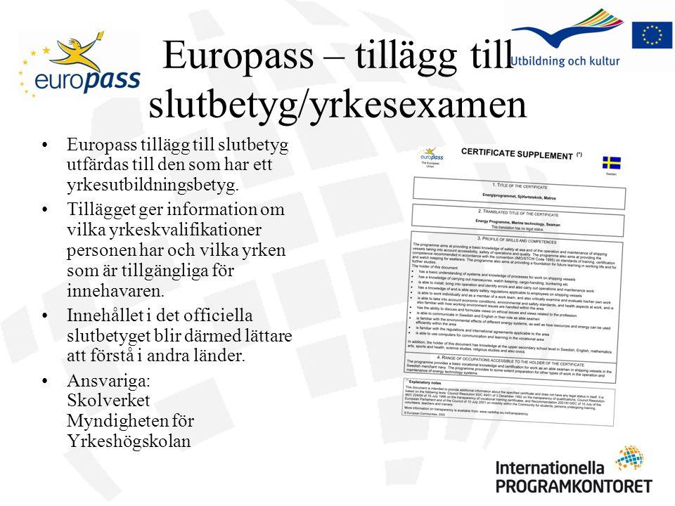Europass – tillägg till slutbetyg/yrkesexamen Europass tillägg till slutbetyg utfärdas till den som har ett yrkesutbildningsbetyg. Tillägget ger infor