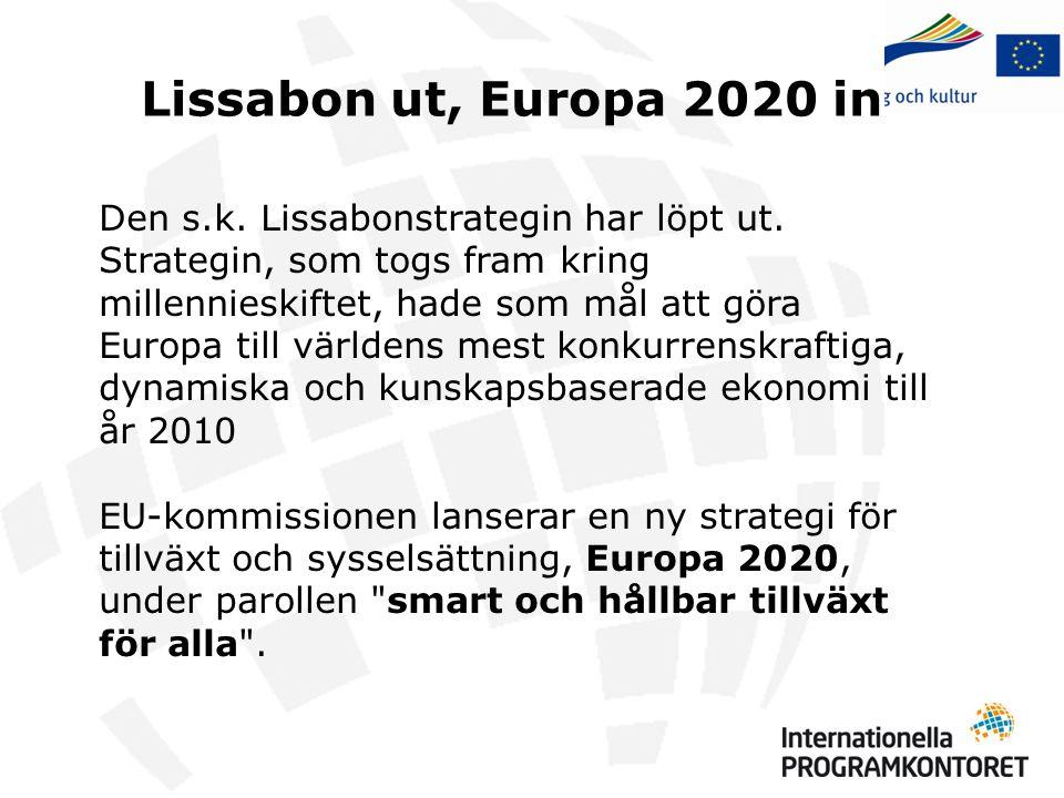 Lissabon ut, Europa 2020 in Den s.k. Lissabonstrategin har löpt ut. Strategin, som togs fram kring millennieskiftet, hade som mål att göra Europa till