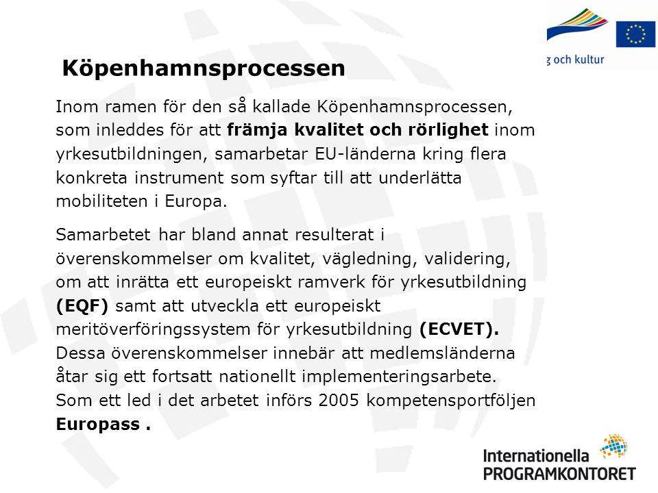 Köpenhamnsprocessen Inom ramen för den så kallade Köpenhamnsprocessen, som inleddes för att främja kvalitet och rörlighet inom yrkesutbildningen, sama