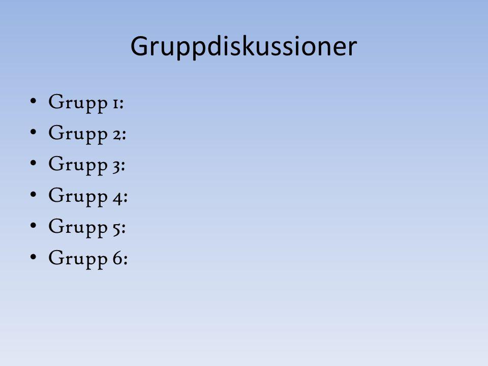 Gruppdiskussioner Grupp 1: Grupp 2: Grupp 3: Grupp 4: Grupp 5: Grupp 6: