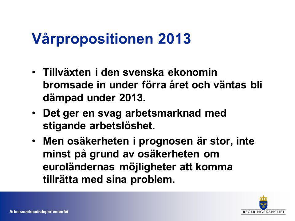 Arbetsmarknadsdepartementet Vårpropositionen 2013 Tillväxten i den svenska ekonomin bromsade in under förra året och väntas bli dämpad under 2013. Det