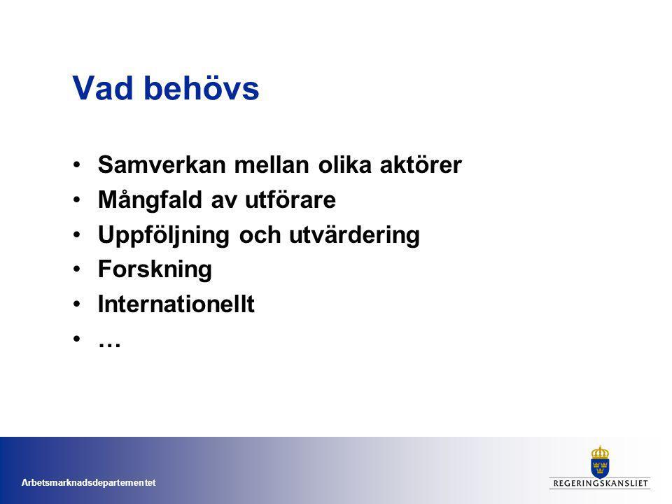 Arbetsmarknadsdepartementet Vad behövs Samverkan mellan olika aktörer Mångfald av utförare Uppföljning och utvärdering Forskning Internationellt …