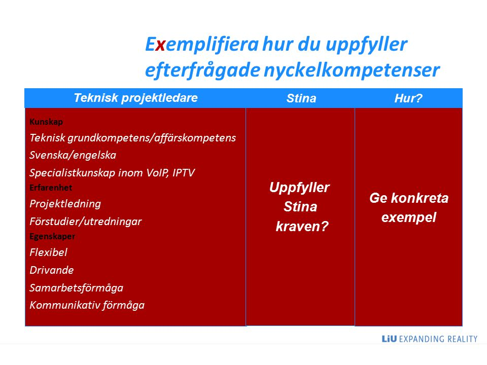 Exemplifiera hur du uppfyller efterfrågade nyckelkompetenser Kunskap Teknisk grundkompetens/affärskompetens Svenska/engelska Specialistkunskap inom Vo