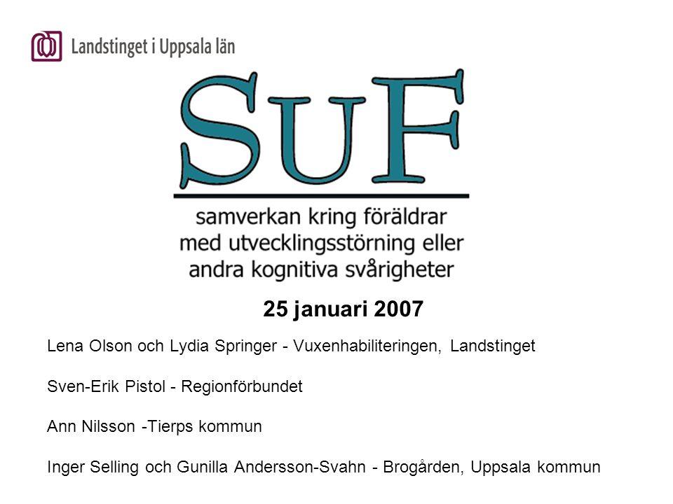 25 januari 2007 Lena Olson och Lydia Springer - Vuxenhabiliteringen, Landstinget Sven-Erik Pistol - Regionförbundet Ann Nilsson -Tierps kommun Inger S