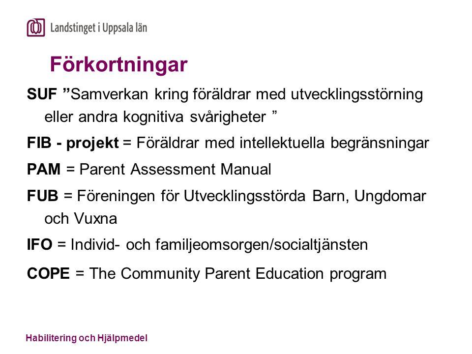 """Habilitering och Hjälpmedel Förkortningar SUF """"Samverkan kring föräldrar med utvecklingsstörning eller andra kognitiva svårigheter """" FIB - projekt = F"""