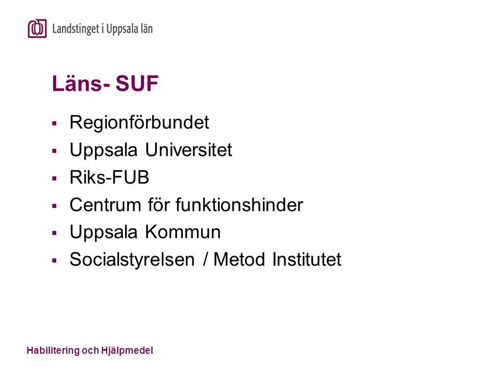 Habilitering och Hjälpmedel Läns- SUF  Regionförbundet  Uppsala Universitet  Riks-FUB  Centrum för funktionshinder  Uppsala Kommun  Socialstyrel