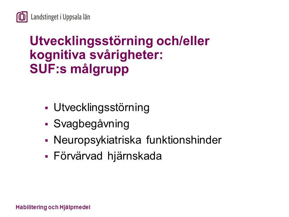 Habilitering och Hjälpmedel Utvecklingsstörning och/eller kognitiva svårigheter: SUF:s målgrupp  Utvecklingsstörning  Svagbegåvning  Neuropsykiatri