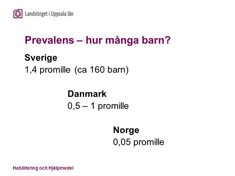 Habilitering och Hjälpmedel Prevalens – hur många barn? Sverige 1,4 promille (ca 160 barn) Danmark 0,5 – 1 promille Norge 0,05 promille