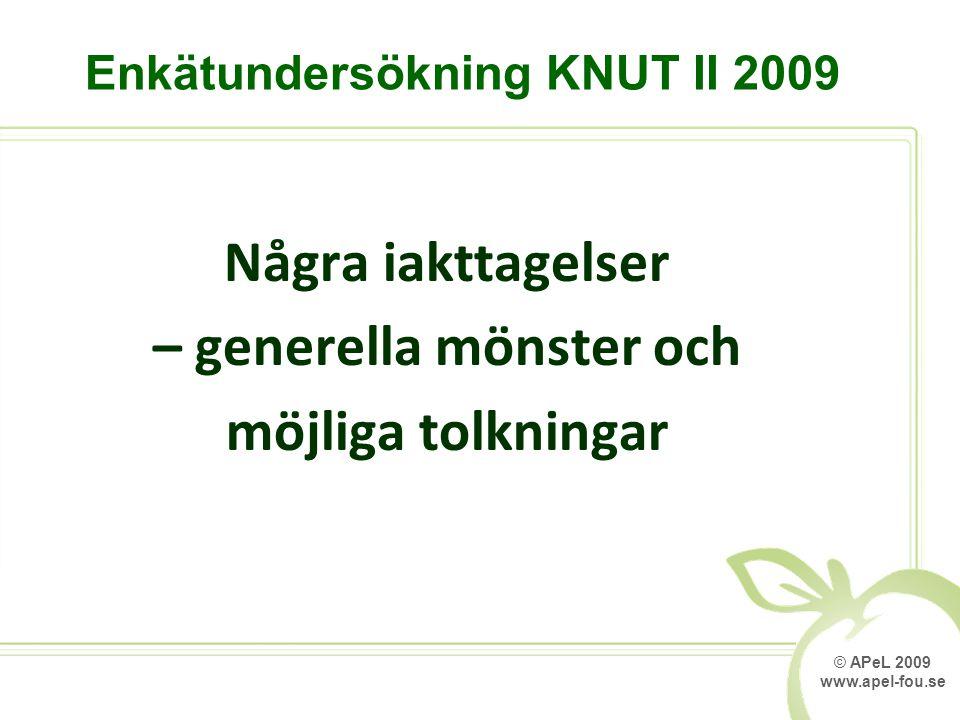© APeL 2009 www.apel-fou.se Några iakttagelser – generella mönster och möjliga tolkningar Enkätundersökning KNUT II 2009