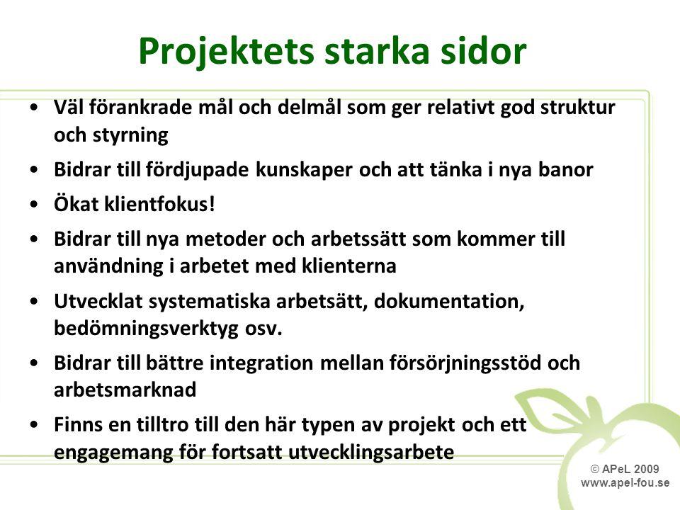 © APeL 2009 www.apel-fou.se Projektets starka sidor Väl förankrade mål och delmål som ger relativt god struktur och styrning Bidrar till fördjupade kunskaper och att tänka i nya banor Ökat klientfokus.