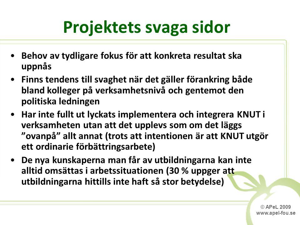 © APeL 2009 www.apel-fou.se Projektets svaga sidor Behov av tydligare fokus för att konkreta resultat ska uppnås Finns tendens till svaghet när det gä