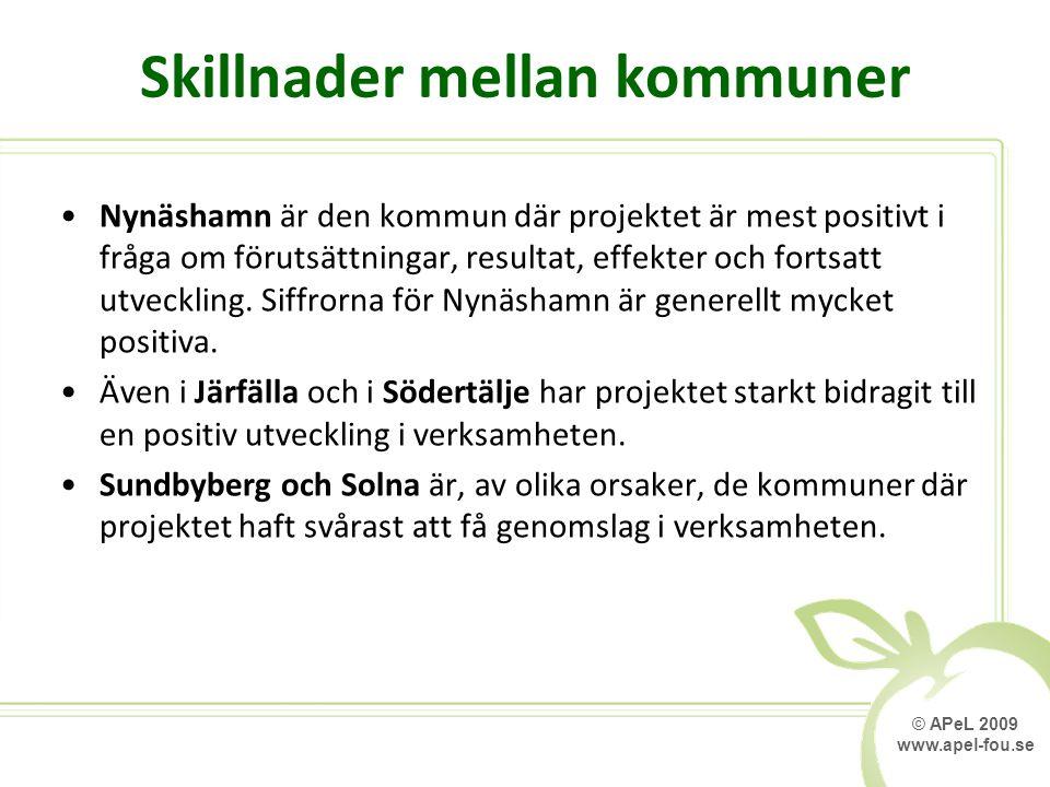 © APeL 2009 www.apel-fou.se Skillnader mellan kommuner Nynäshamn är den kommun där projektet är mest positivt i fråga om förutsättningar, resultat, effekter och fortsatt utveckling.