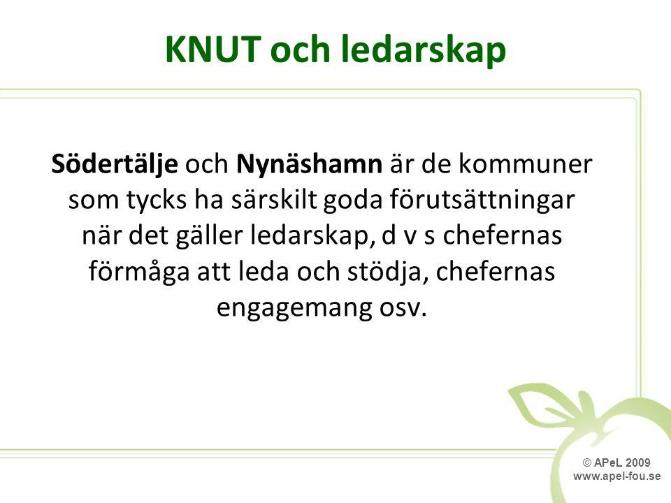 © APeL 2009 www.apel-fou.se KNUT och ledarskap Södertälje och Nynäshamn är de kommuner som tycks ha särskilt goda förutsättningar när det gäller ledarskap, d v s chefernas förmåga att leda och stödja, chefernas engagemang osv.