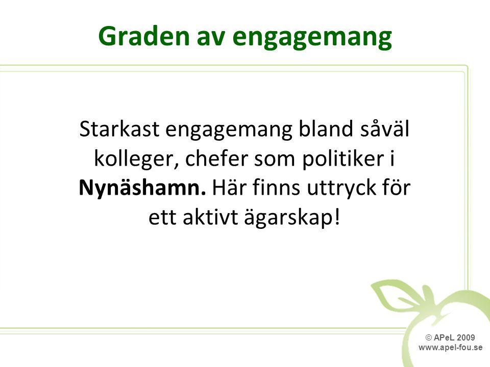 © APeL 2009 www.apel-fou.se Graden av engagemang Starkast engagemang bland såväl kolleger, chefer som politiker i Nynäshamn. Här finns uttryck för ett