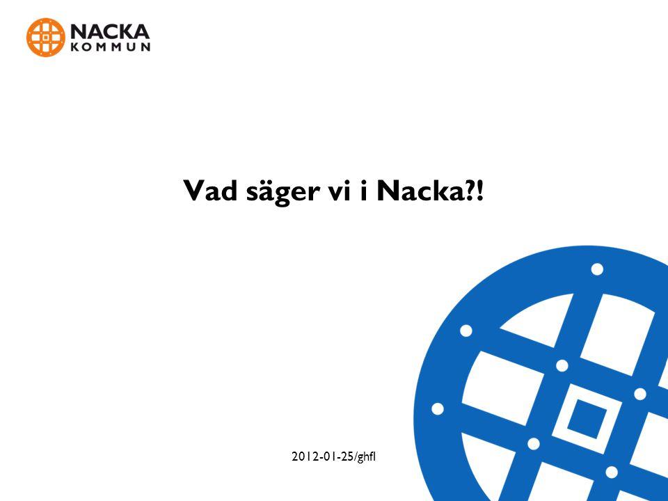 Vad säger vi i Nacka?! 2012-01-25/ghfl