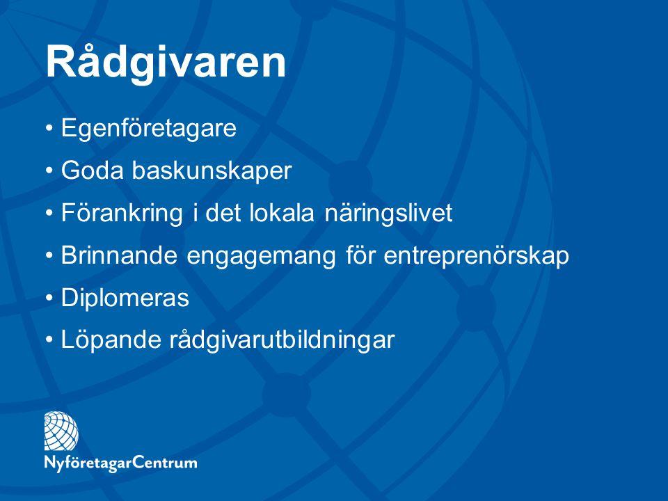 Rådgivaren Egenföretagare Goda baskunskaper Förankring i det lokala näringslivet Brinnande engagemang för entreprenörskap Diplomeras Löpande rådgivaru