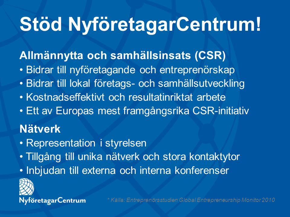 Stöd NyföretagarCentrum! Allmännytta och samhällsinsats (CSR) Bidrar till nyföretagande och entreprenörskap Bidrar till lokal företags- och samhällsut