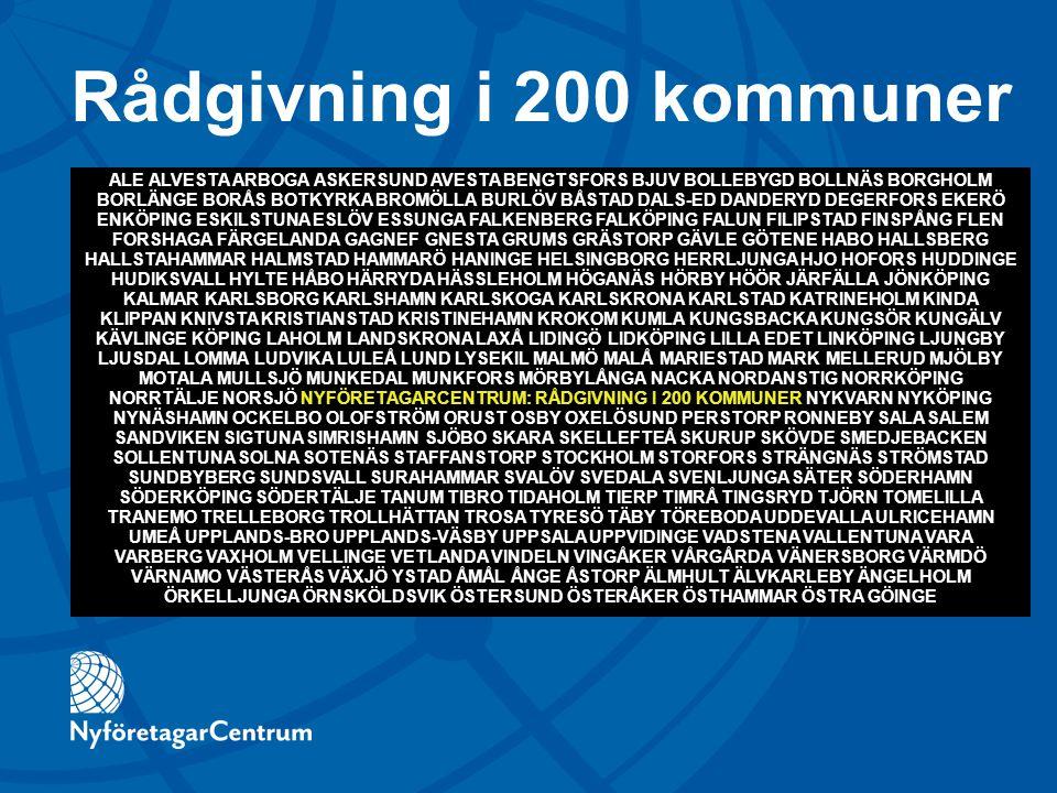 Rådgivning i 200 kommuner ALE ALVESTA ARBOGA ASKERSUND AVESTA BENGTSFORS BJUV BOLLEBYGD BOLLNÄS BORGHOLM BORLÄNGE BORÅS BOTKYRKA BROMÖLLA BURLÖV BÅSTA