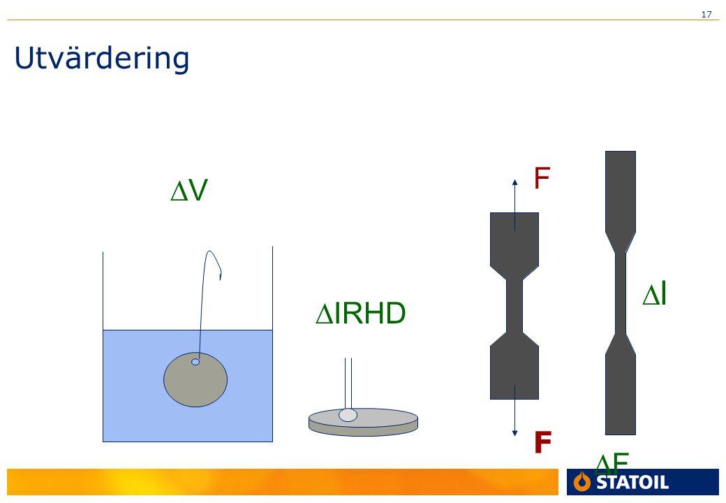 17 Utvärdering F FF ll VV  IRHD F