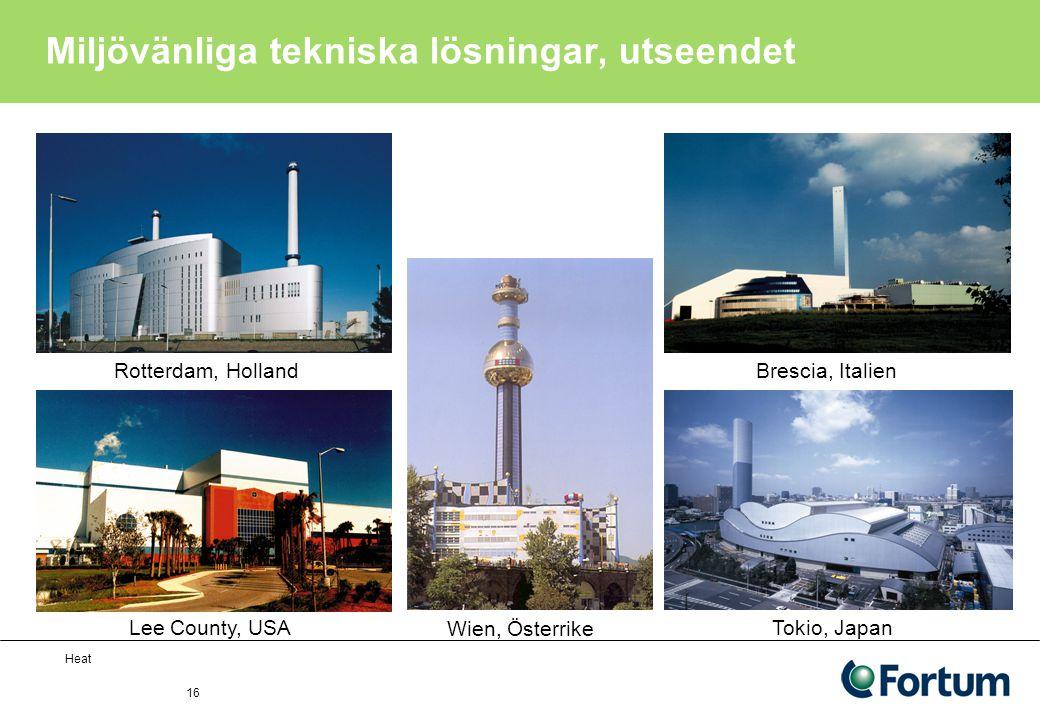 Heat 16 Miljövänliga tekniska lösningar, utseendet Wien, Österrike Rotterdam, Holland Lee County, USA Brescia, Italien Tokio, Japan