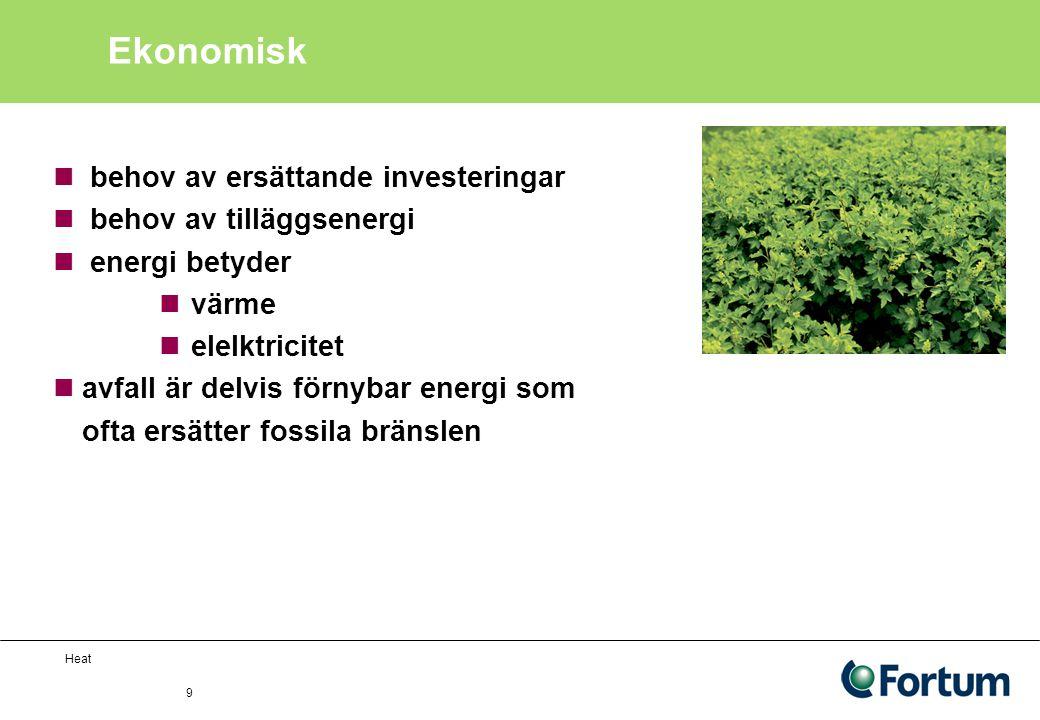 Heat 9 Ekonomisk behov av ersättande investeringar behov av tilläggsenergi energi betyder värme elelktricitet avfall är delvis förnybar energi som ofta ersätter fossila bränslen