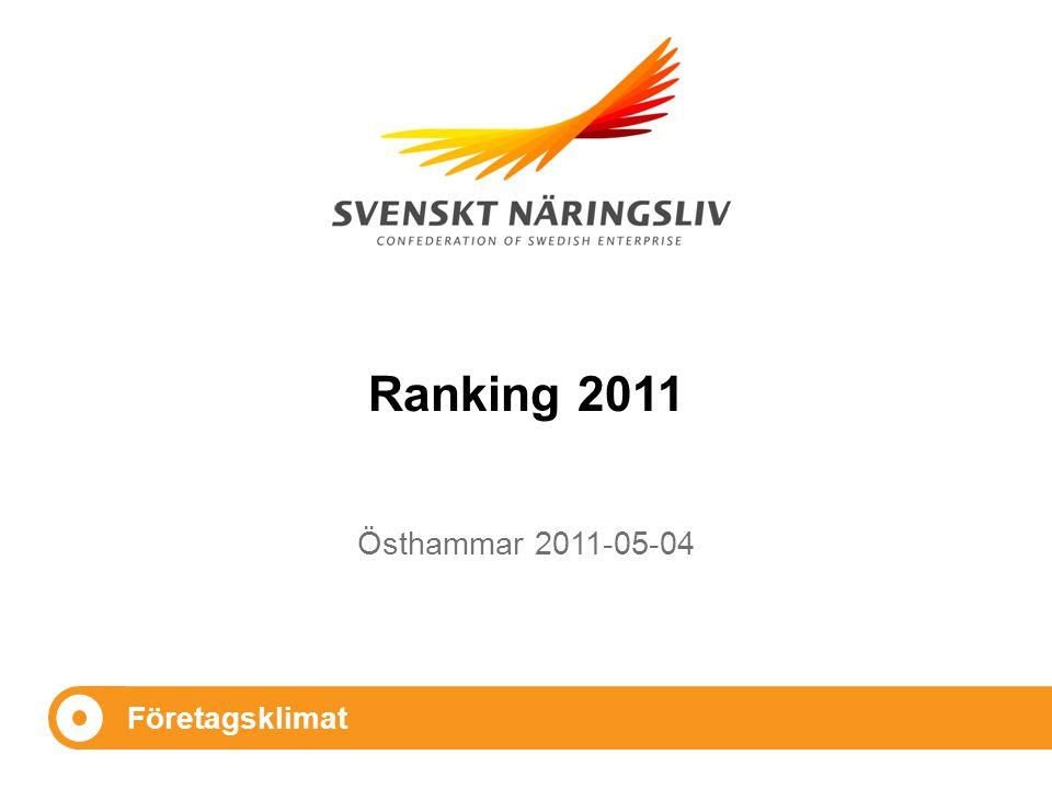 Företagsklimat Östhammar 2011-05-04 Ranking 2011