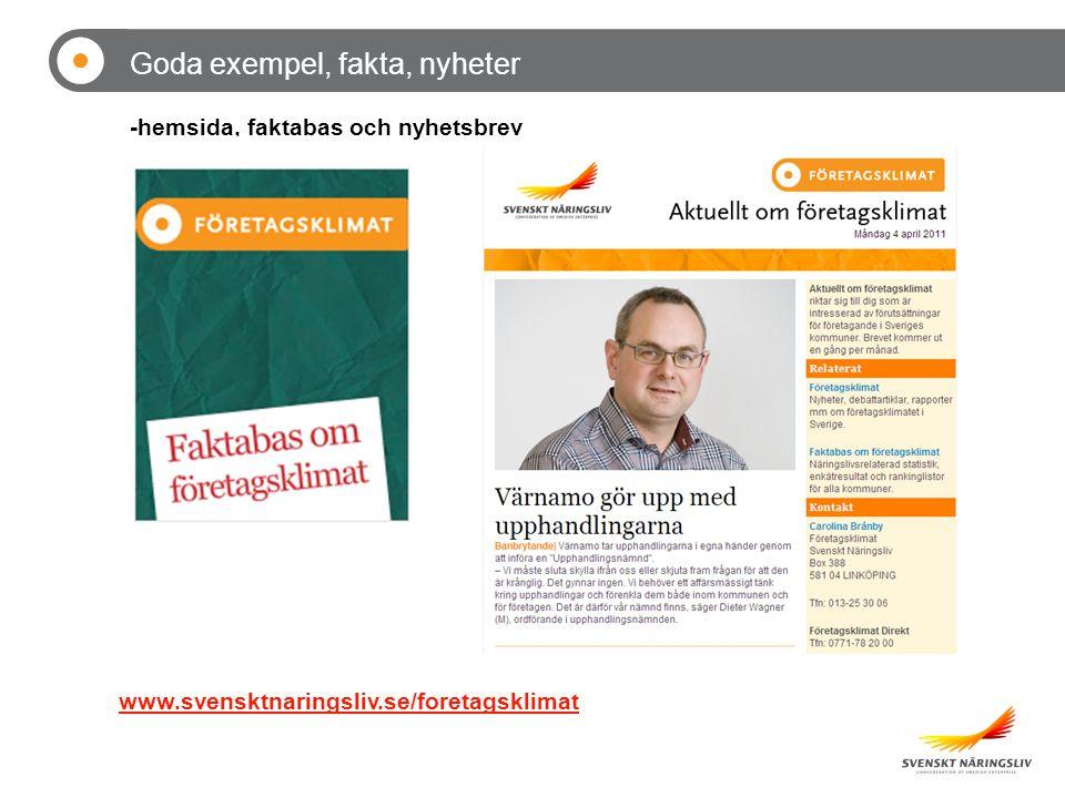 www.svensktnaringsliv.se/foretagsklimat Goda exempel, fakta, nyheter -hemsida, faktabas och nyhetsbrev