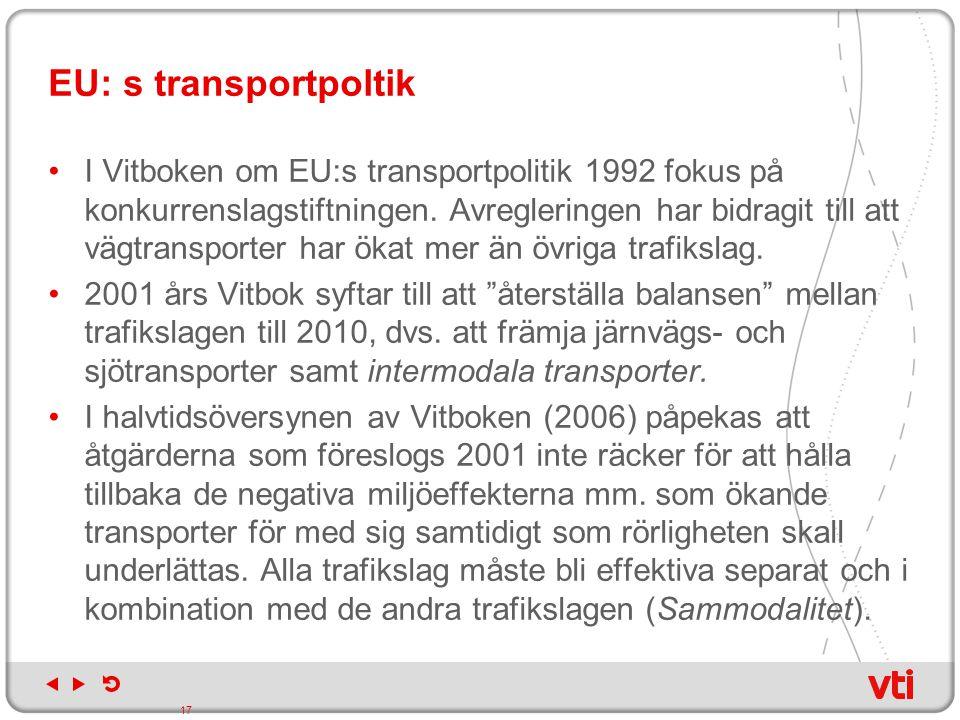 EU: s transportpoltik I Vitboken om EU:s transportpolitik 1992 fokus på konkurrenslagstiftningen. Avregleringen har bidragit till att vägtransporter h