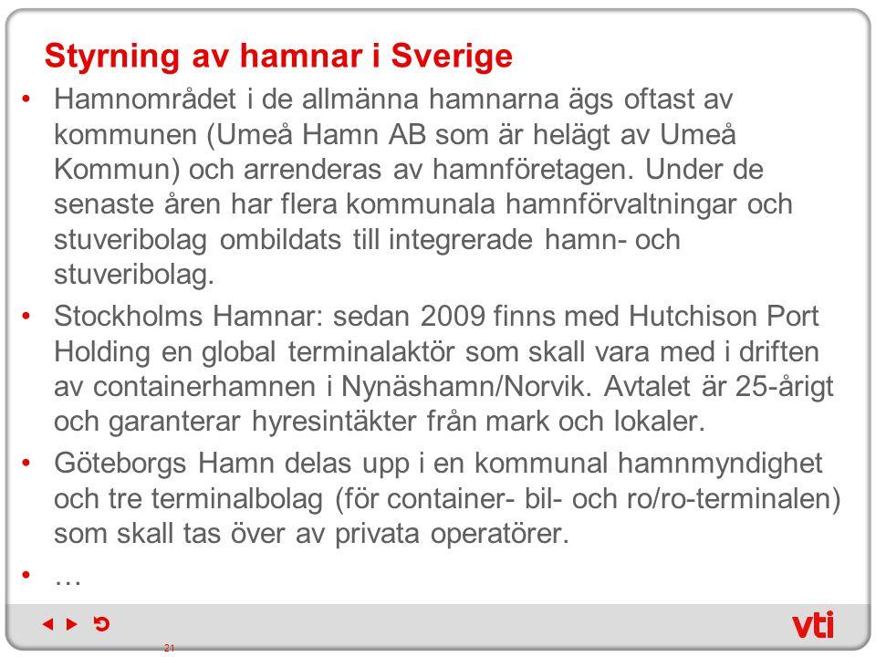 Styrning av hamnar i Sverige Hamnområdet i de allmänna hamnarna ägs oftast av kommunen (Umeå Hamn AB som är helägt av Umeå Kommun) och arrenderas av h