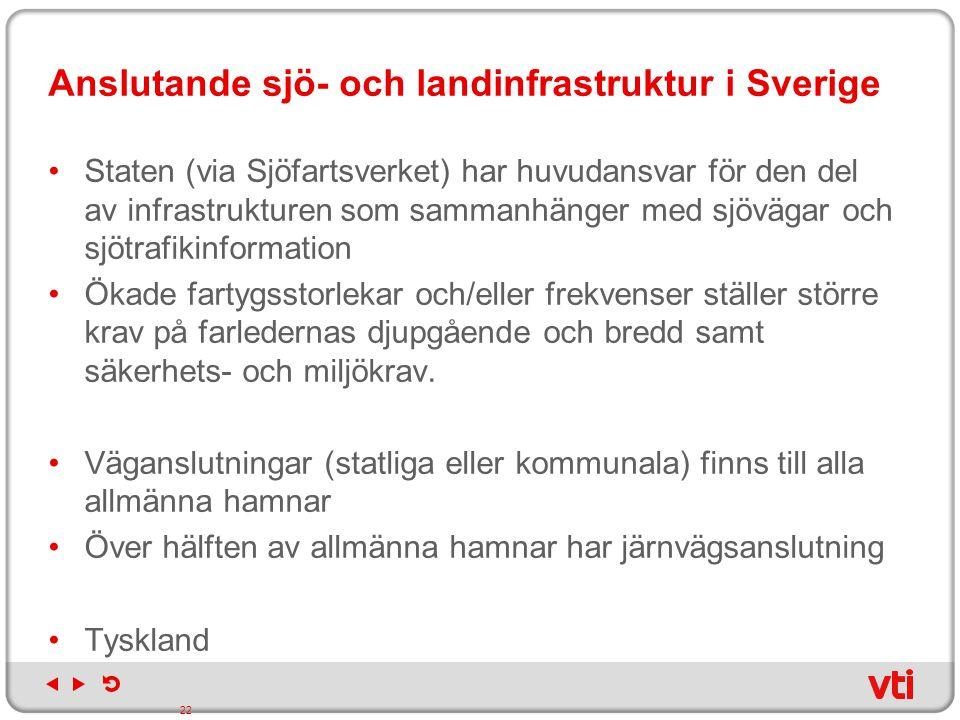 Anslutande sjö- och landinfrastruktur i Sverige Staten (via Sjöfartsverket) har huvudansvar för den del av infrastrukturen som sammanhänger med sjöväg