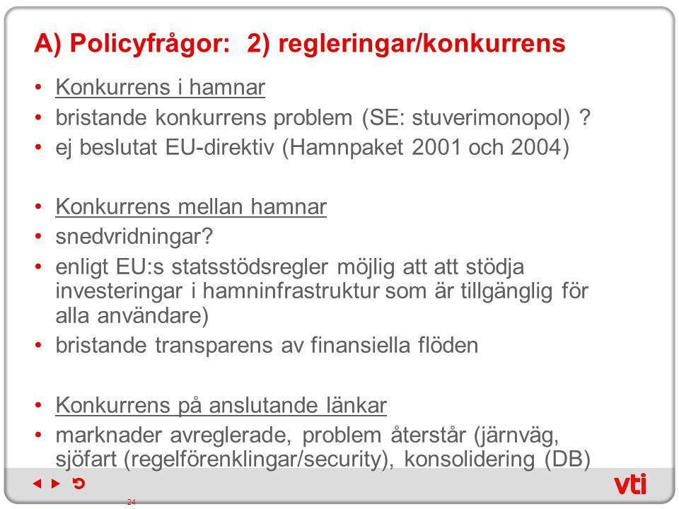 A) Policyfrågor: 2) regleringar/konkurrens Konkurrens i hamnar bristande konkurrens problem (SE: stuverimonopol) ? ej beslutat EU-direktiv (Hamnpaket