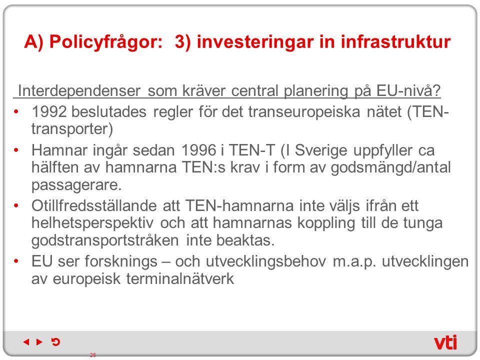 A) Policyfrågor: 3) investeringar in infrastruktur Interdependenser som kräver central planering på EU-nivå? 1992 beslutades regler för det transeurop
