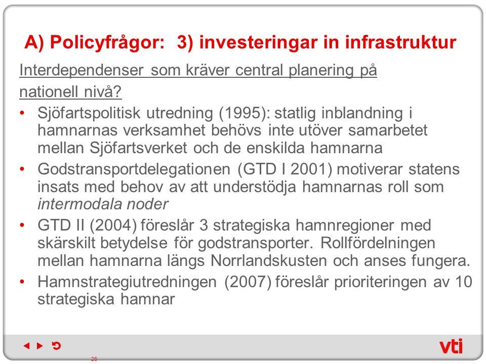 A) Policyfrågor: 3) investeringar in infrastruktur Interdependenser som kräver central planering på nationell nivå? Sjöfartspolitisk utredning (1995):