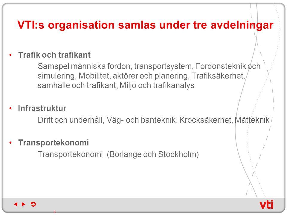 VTI:s organisation samlas under tre avdelningar Trafik och trafikant Samspel människa fordon, transportsystem, Fordonsteknik och simulering, Mobilitet