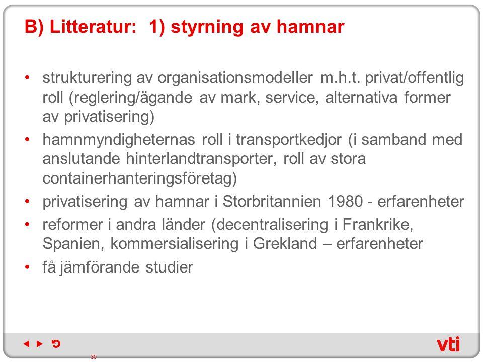 B) Litteratur: 1) styrning av hamnar strukturering av organisationsmodeller m.h.t. privat/offentlig roll (reglering/ägande av mark, service, alternati