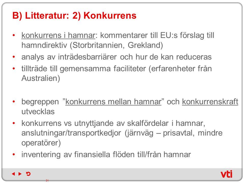 B) Litteratur: 2) Konkurrens konkurrens i hamnar: kommentarer till EU:s förslag till hamndirektiv (Storbritannien, Grekland) analys av inträdesbarriär