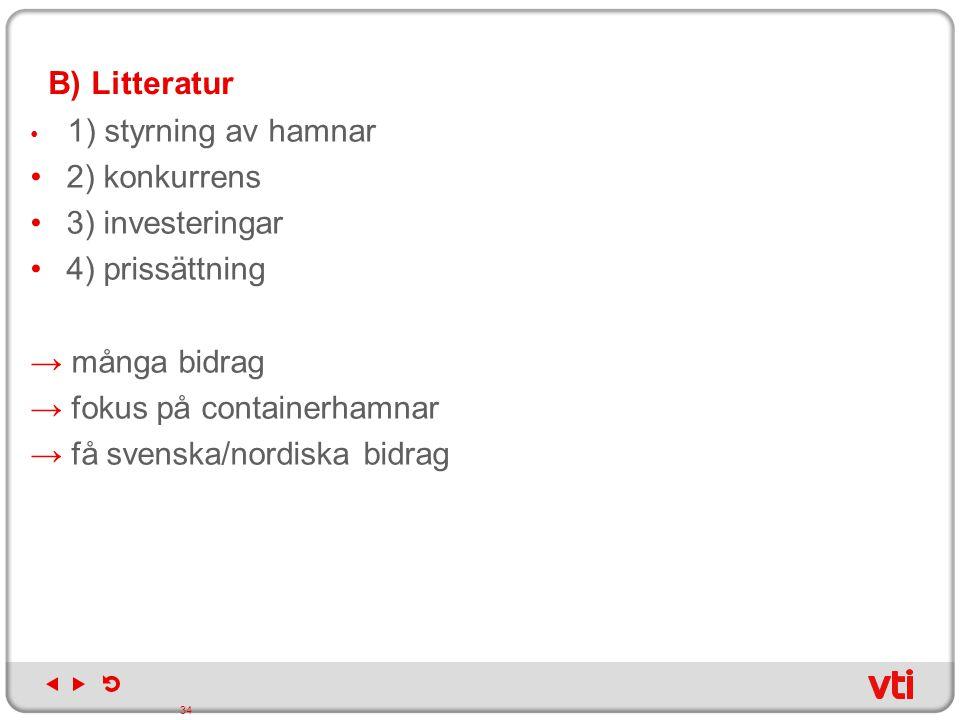 B) Litteratur 1) styrning av hamnar 2) konkurrens 3) investeringar 4) prissättning → många bidrag → fokus på containerhamnar → få svenska/nordiska bid