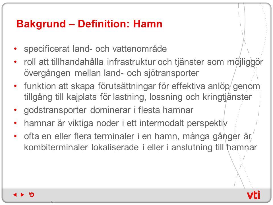 Bakgrund – Definition: Hamn specificerat land- och vattenområde roll att tillhandahålla infrastruktur och tjänster som möjliggör övergången mellan lan