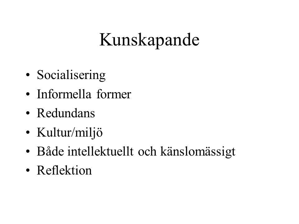 Kunskapande Socialisering Informella former Redundans Kultur/miljö Både intellektuellt och känslomässigt Reflektion