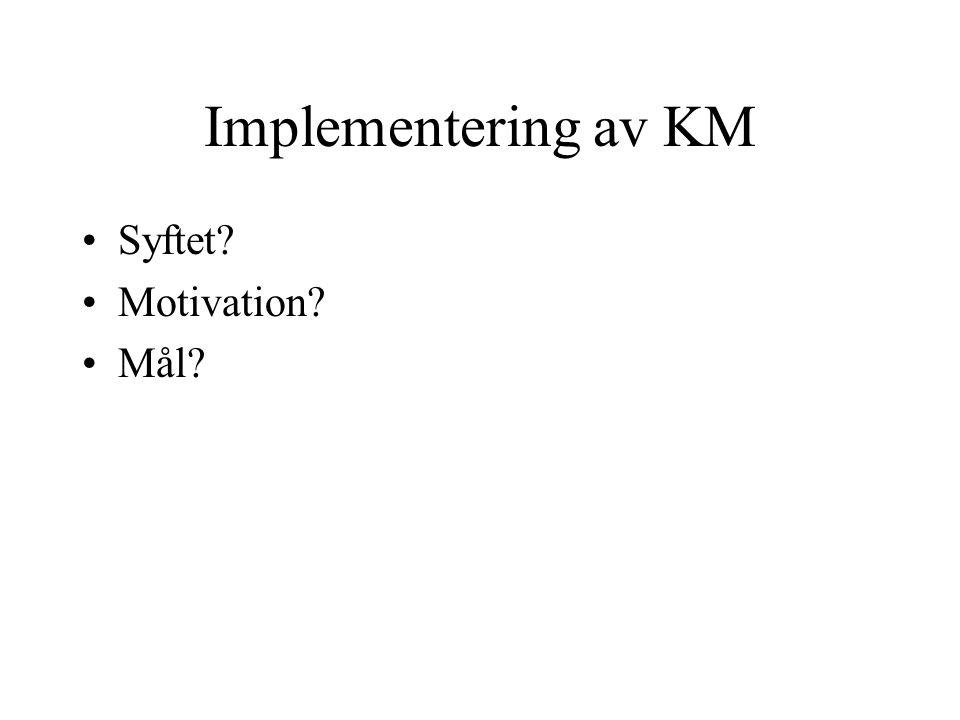 Implementering av KM Syftet? Motivation? Mål?