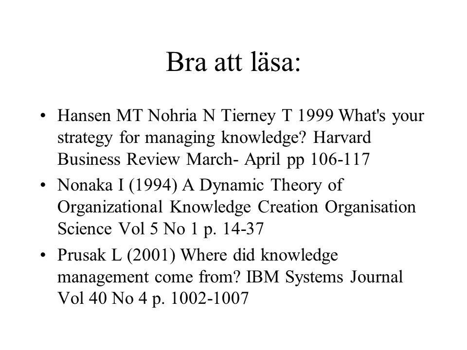 Bra att läsa: Hansen MT Nohria N Tierney T 1999 What s your strategy for managing knowledge.