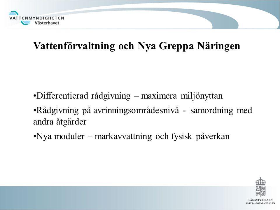 Differentierad rådgivning – maximera miljönyttan Rådgivning på avrinningsområdesnivå - samordning med andra åtgärder Nya moduler – markavvattning och fysisk påverkan Vattenförvaltning och Nya Greppa Vattenförvaltning och Nya Greppa Näringen