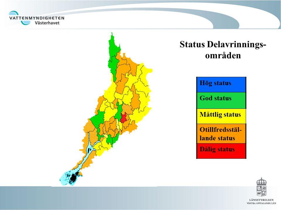 Status Delavrinningsområden Status Delavrinnings- områden Hög status God status Måttlig status Otillfredsstäl- lande status Dålig status