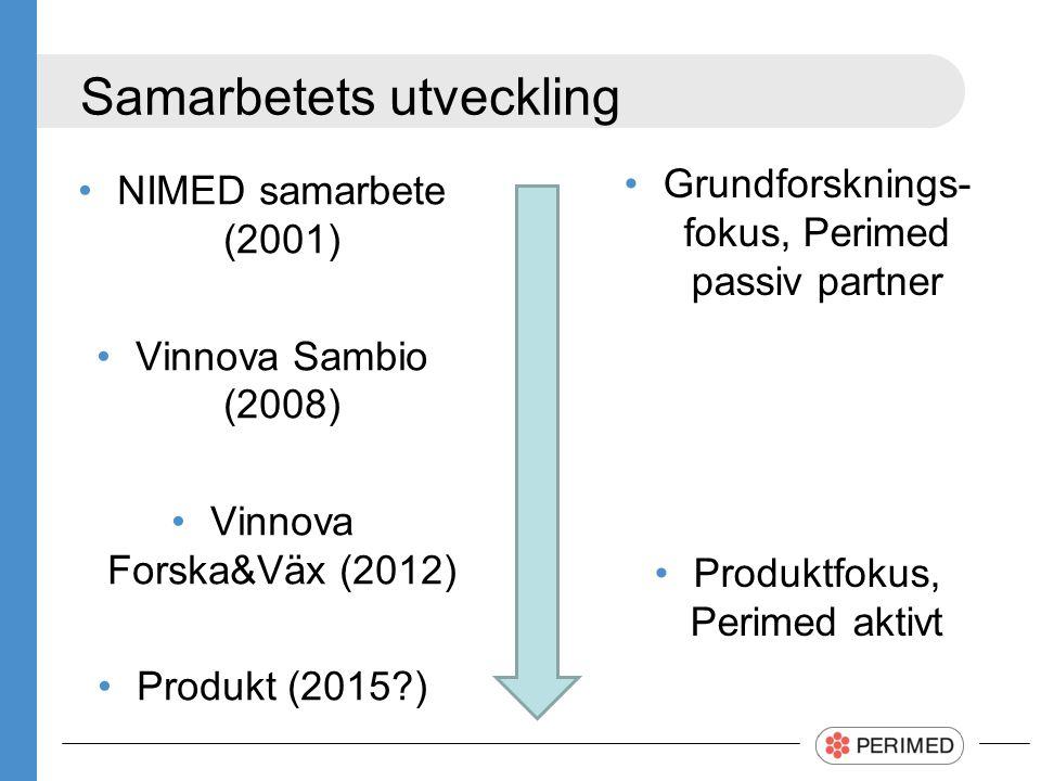 Samarbetets utveckling Grundforsknings- fokus, Perimed passiv partner Produktfokus, Perimed aktivt NIMED samarbete (2001) Vinnova Sambio (2008) Vinnova Forska&Väx (2012) Produkt (2015 )