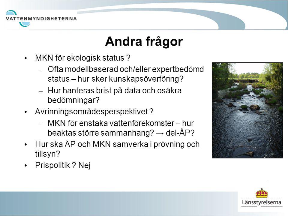 Andra frågor MKN för ekologisk status .