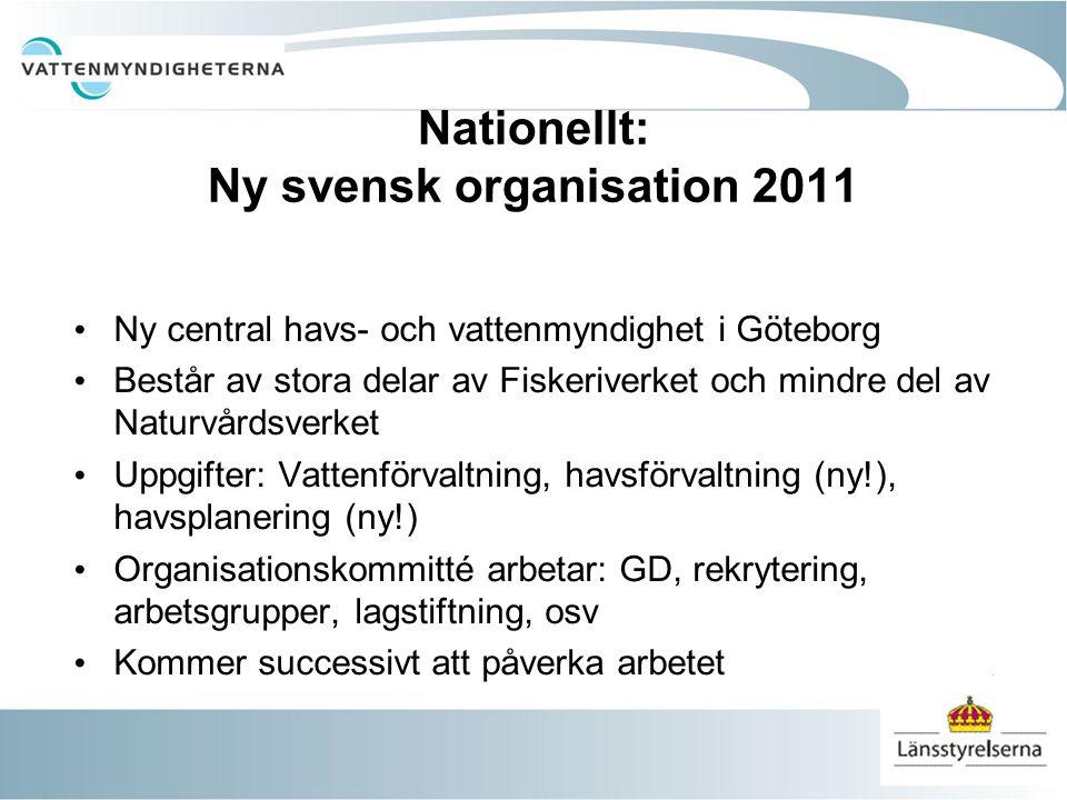 Nationellt: Ny svensk organisation 2011 Ny central havs- och vattenmyndighet i Göteborg Består av stora delar av Fiskeriverket och mindre del av Natur