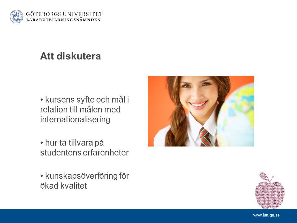 www.lun.gu.se Fastställd policy för VFU utomlands LP11: Två veckor av VFU 3 Studenten ska ha klarat av tidigare VFU-kurser och läskurser Ansökan senas